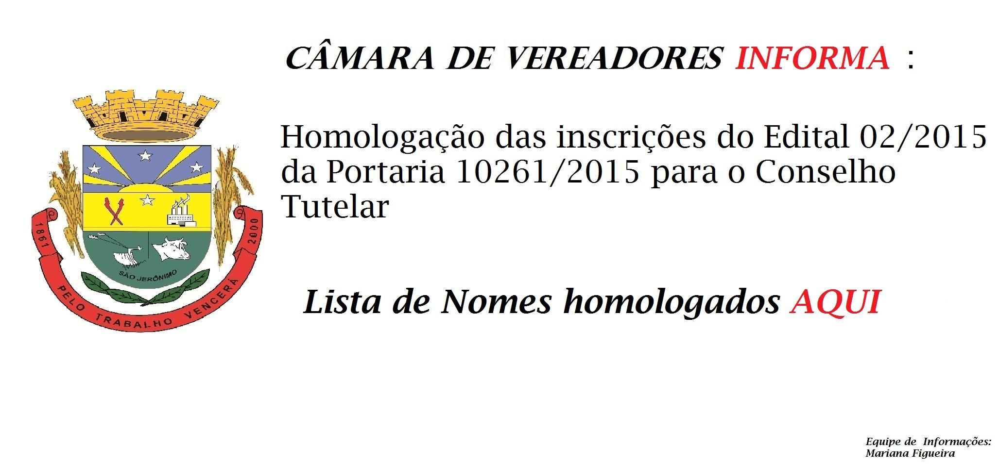 Homologação do Edital 02/2015