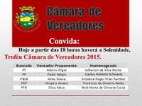 Troféu Câmara de Vereadores 2015. Foto de Câmara Vereadores.